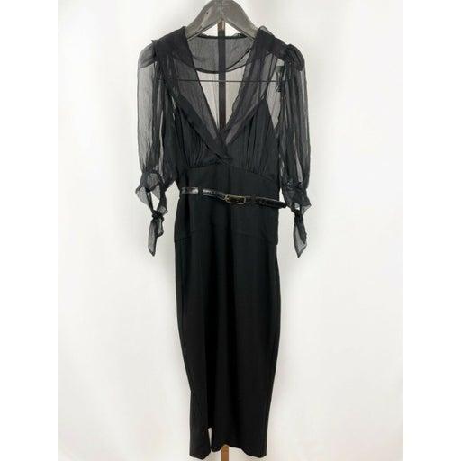 Black Halo Chiffon Sheath Dress w. Slip Dress Sz 0