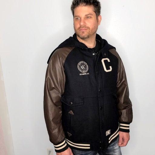 Crooks & Castles Navy Wool Blend Varsity Jacket Brown Leather Sleeves Men's 3XL