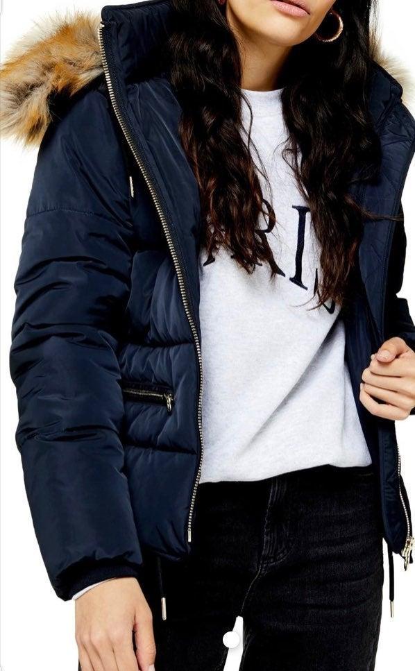 NWT Top shop faux fur trim puffer Jacket