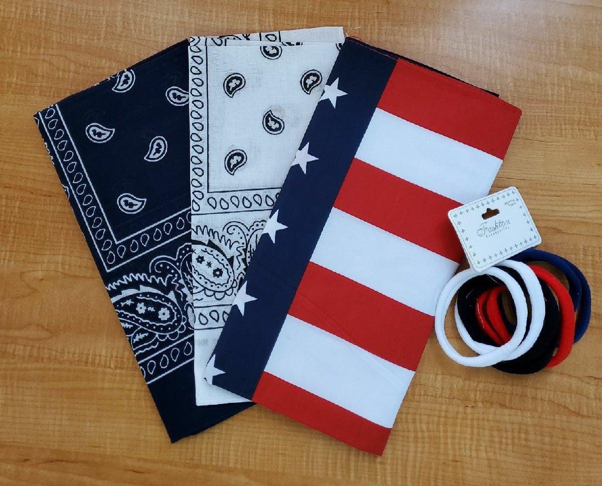 bandana with hair ties