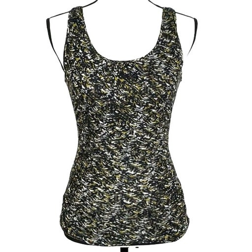 Halogen Petite Tank Top S Black Yellow White Print Ruched Sides Lined Womens