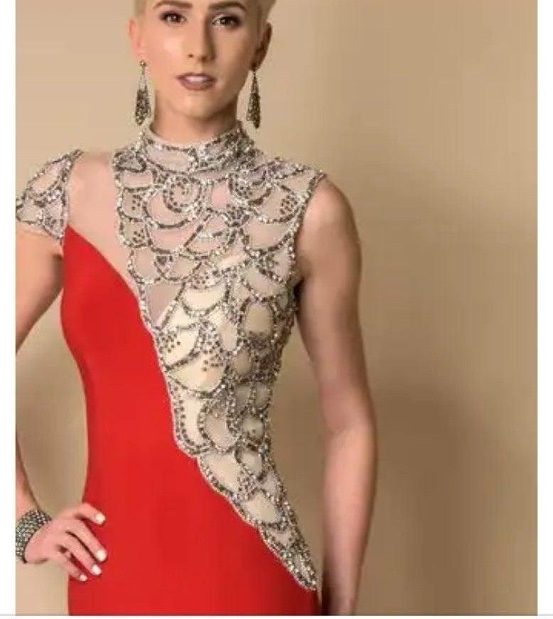 Vienna Prom Red Asymmetrical Neck Dress