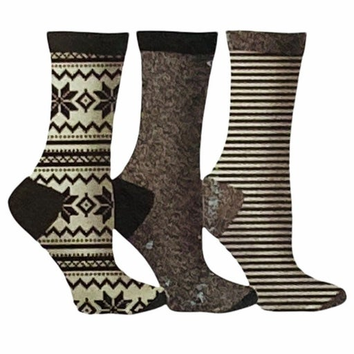 Gertex Ladies Snowflake Holiday Boxed Crew Socks Black Gray White Sz. 9-11