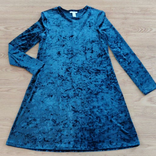 London Times Blue Crushed Velvet Dress