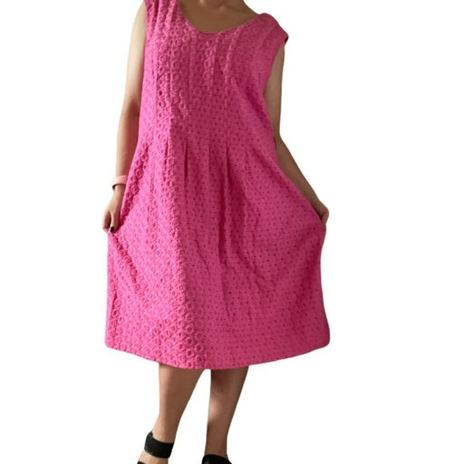 NWT Pendleton Pink Eylet Dress Women's Size 18 100% Cotton Fully Lined