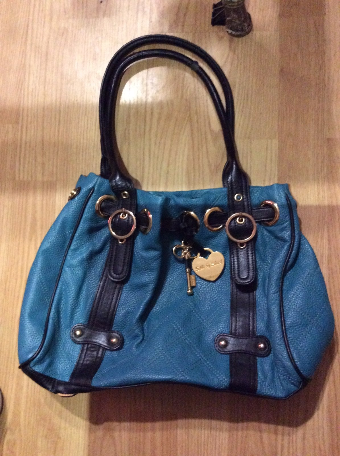 Bobbi Sharif Blue Teal love Purse Gold