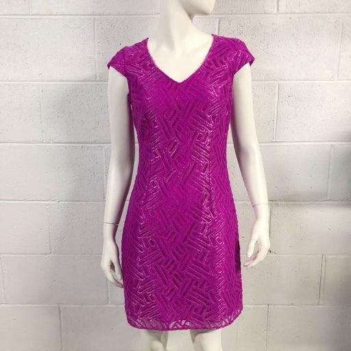 Womens Lilly Pulitzer Selassie Magenta Metallic Lace Sheath Cocktail Dress