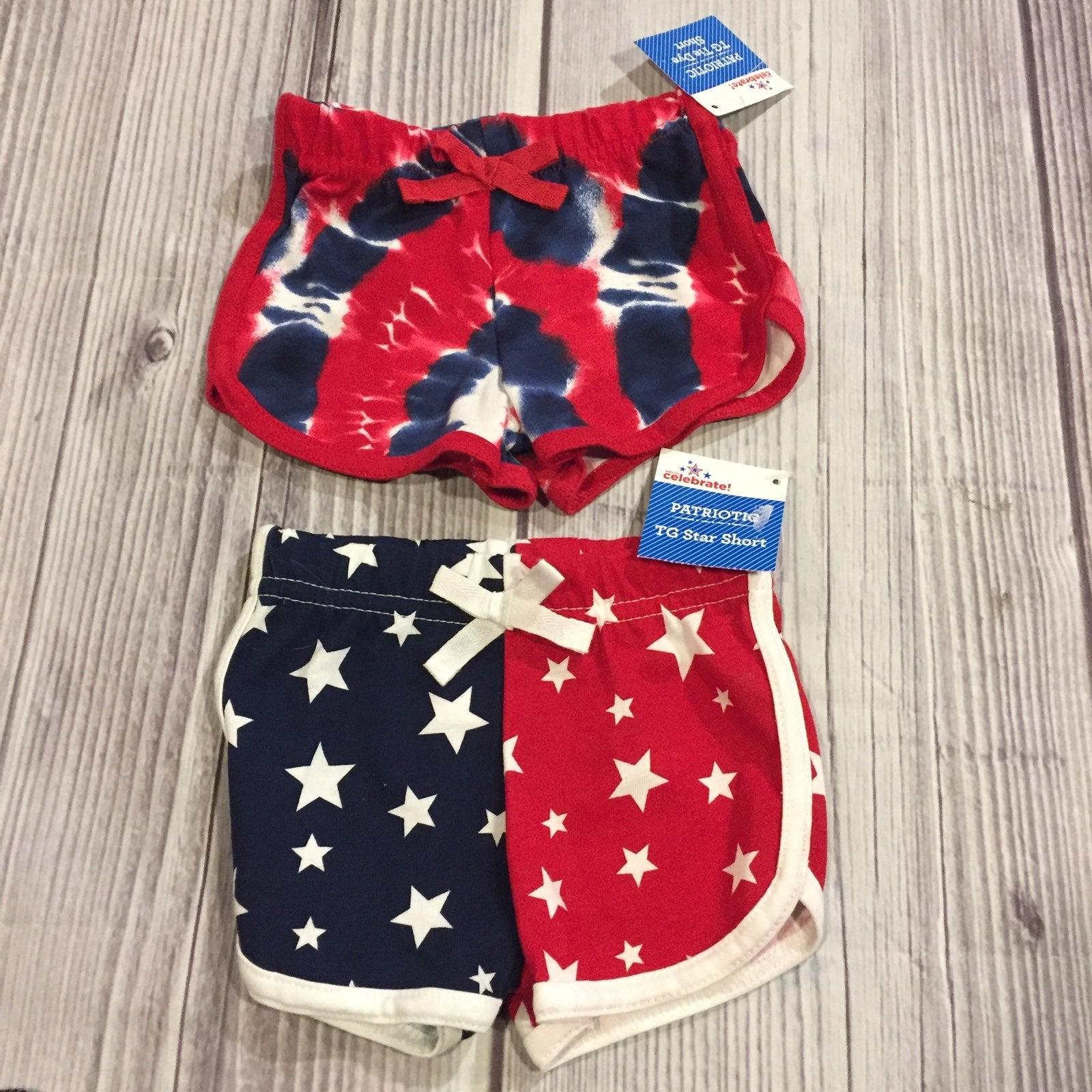 patriotic shorts  2 pair  0-3m