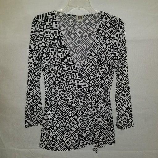 Anne Klein Black & White Pullover Blouse