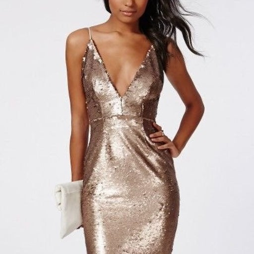 Missguided Gold Sequin Dress