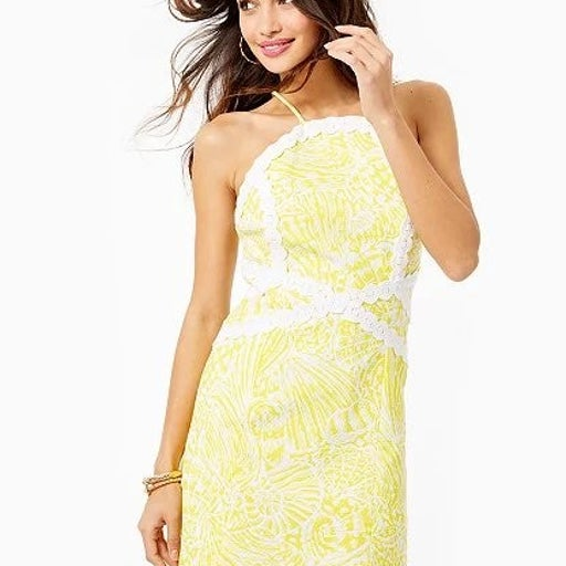 Lilly Lily Pulitzer Pearl Stretch Shift Dress Lemon Sea Cups Yellow White 0 XS