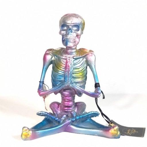 Iridescent Skeleton Yoga Prayer Hands Halloween Decor Statue