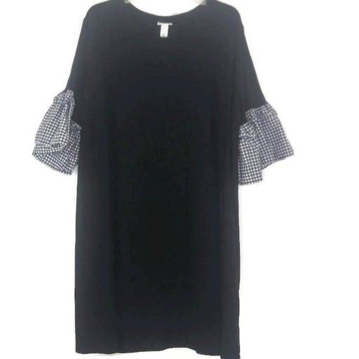 Black Knit Plaid Bell Sleeve Dress