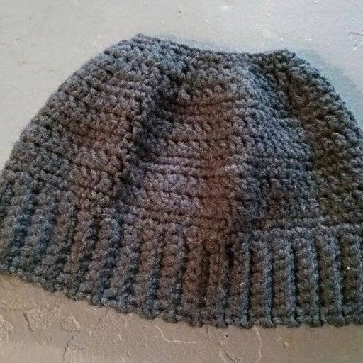 Handmade knit ponytail beanie