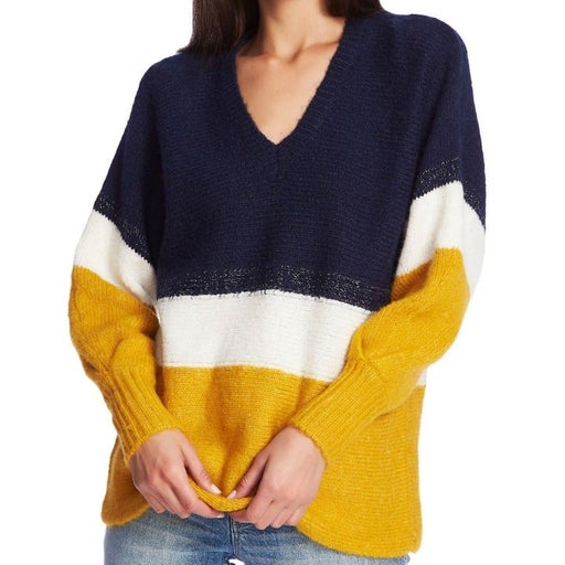 1.State navy gold marled sparkle mix striped v-neck tunic sweater medium MSRP 89