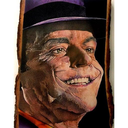 Joker drawing on basswood