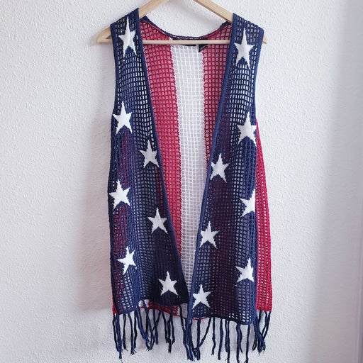 Crystal Kobe Patriotic Chrochet Vest