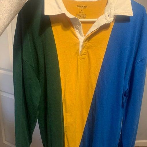 Tri-colored Button Collar Sweater Mens