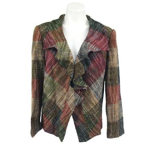 Chicos 2 Blazer Size Large Tweed Multi