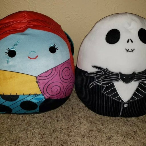 """Jack Skellington and Sally Squishmallow 12"""" NWT The Nightmare Before Christmas"""