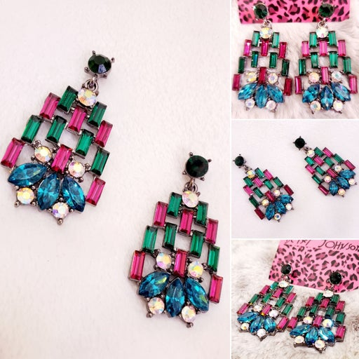 Silver pink and green Crystal earrings