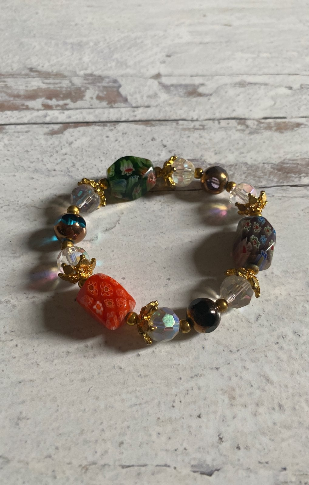 Glass Beaded, Metal Accent Bracelet
