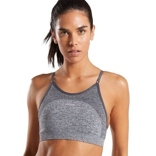 GYMSHARK FLEX STRAPPY SPORTS BRA WOMEN'S L Charcoal Marl/Pink Athletic Workout