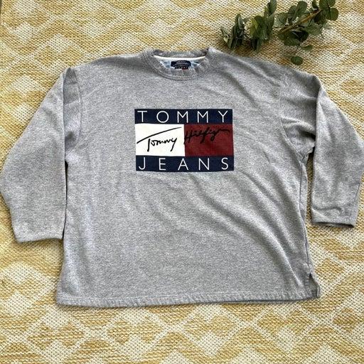 Vintage Grey Tommy Hilfiger Flag Sweatshirt