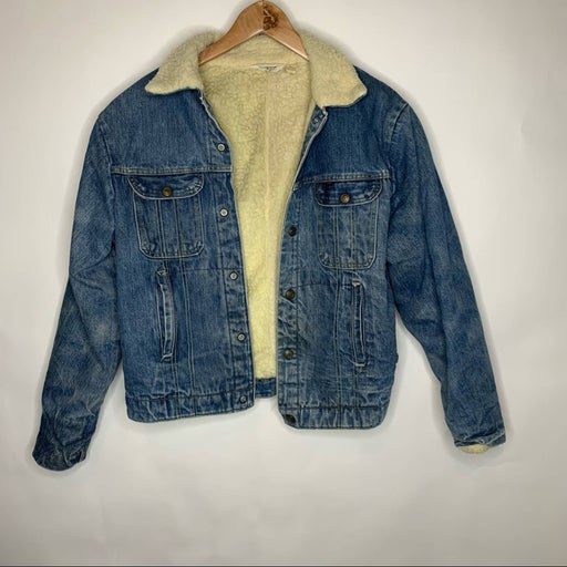 Vtg Key 70s Sherpa Lined Jean Jacket 40
