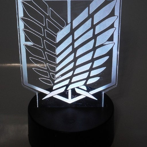 """Attack on Titan 6.5"""" Tall Wing Logo Laser Engraved 3D Effect Acrylic Night Lamp"""