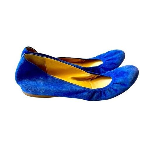 J. Crew Suede Ballet Flats in Blue Round Toe Slip On Minimalist Size 8.5