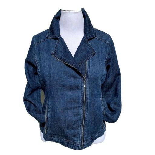 NWOT Chicos denim color cotton blend zipper jacket size 8-10 (Chicos size 1)