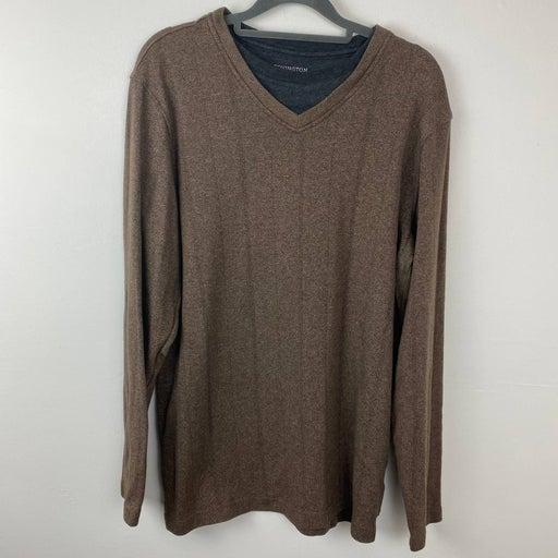Covington, Brown long sleeve shirt.