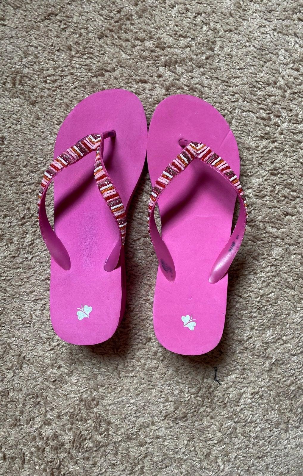 Pink Beaded Flip Flops