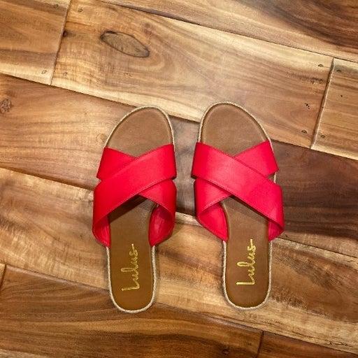 Lulus Koren Red Espadrille Slide Sandals
