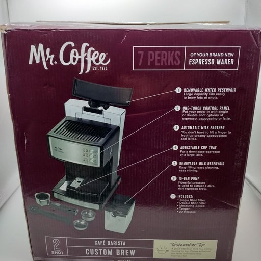 Mr. Coffee 2 Shot Espresso Machine | Cafe Barista With Built In Milk Frother