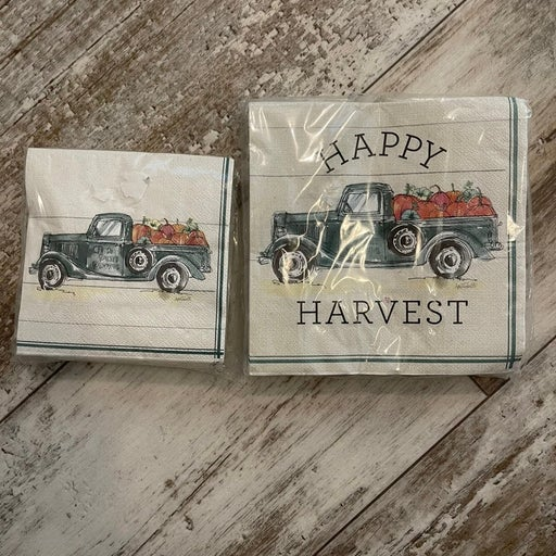 Truck harvest napkins 2 packages 1 small 1 lg