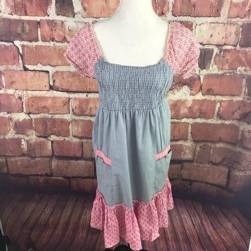 Cotton Smocked Peasant Gypsy Boho Dress