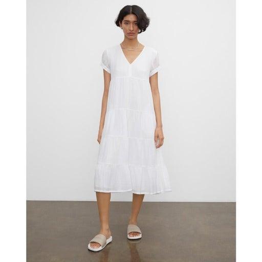 Club Monaco Seam Tiered Dress In White Size 4