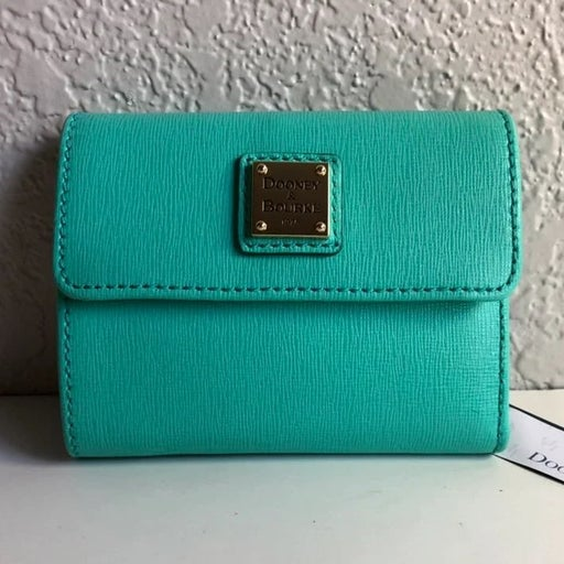 NWT Dooney & Bourke Teal Saffiano leather flap wallet
