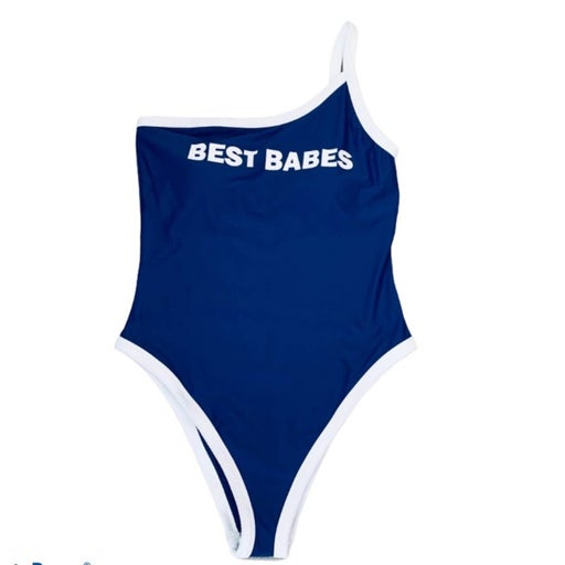 Aerie blue one piece one sleeve bathing suit size XL