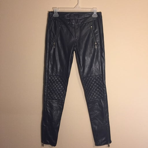 Black Faux Leather Pants with Zip Detail