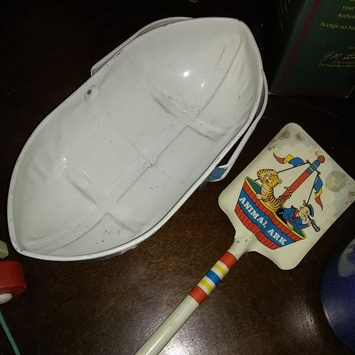Vintage sand bucket and shovel toy