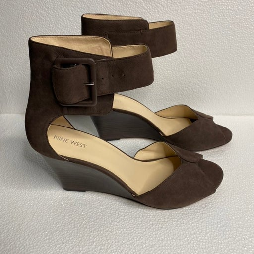 Nine West Brown Suede Ankle Strap Wedge Heel Size 11M