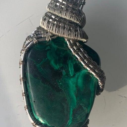 Gigantic Green Malachite Silver Crystal Healing Charm Heart Chakra