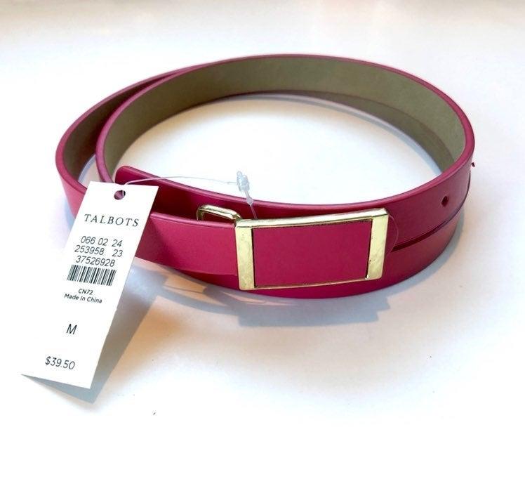 NEW Talbots Pink Leather Belt Sz M