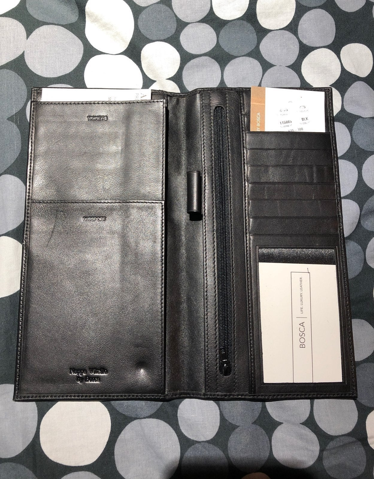 Leather travel wallet, Bosca, new, no bx