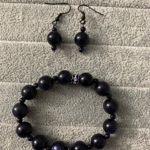 Blue goldstone bracelet and earring set