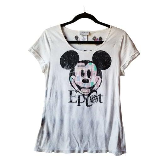 Walt Disney World Epcot Mickey Mouse Graphic Tee Shirt Juniors Size XL