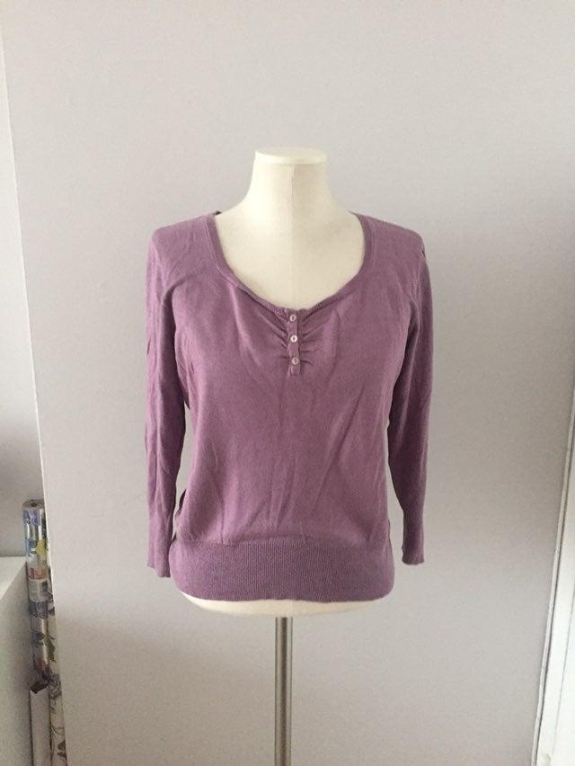 Sigrid Olsen Purple Silk 3/4 Sleeve Top